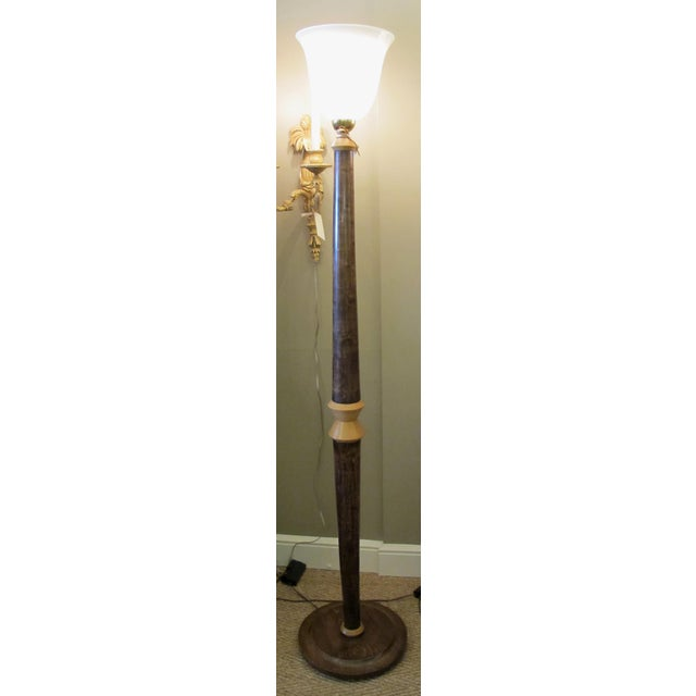 Art Deco English Art Deco Beechwood Floor Lamp For Sale - Image 3 of 3