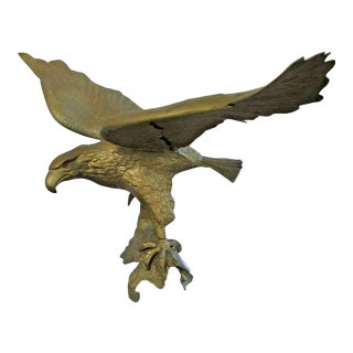Vintage Americana Brass Eagle Sculpture For Sale