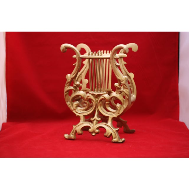 Vintage Gold Cast Metal Footed Lyre Stand - Image 2 of 6