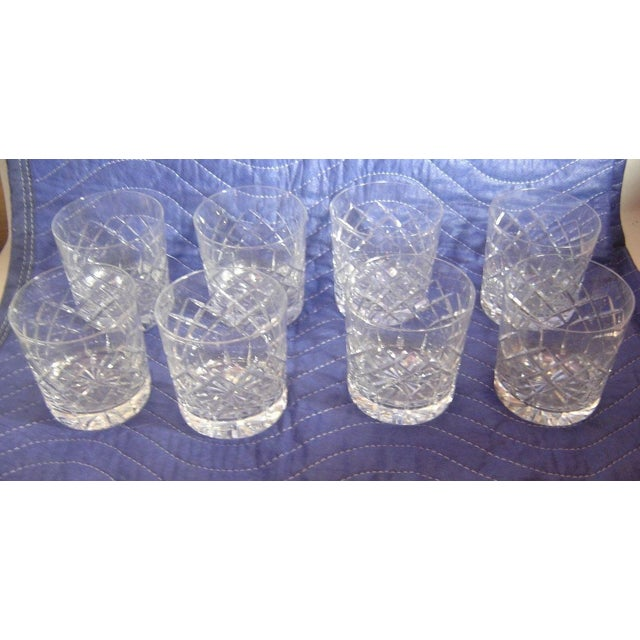 Set of 8 vintage Cartier cut-glass crystal rocks tumblers with etched signatures. Guaranteed Cartier Glass. All 8 have no...