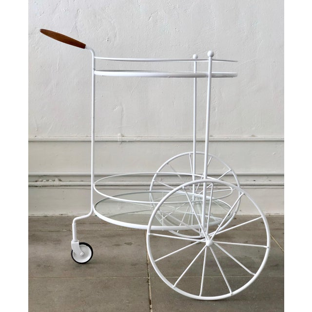 White Vintage Indoor Outdoor Patio Bar Cart with Wooden Handle For Sale - Image 12 of 13