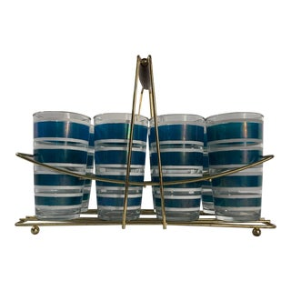 Vintage Hazel Atlas Blue Stripe Glassware With Caddy - Set of 8 For Sale
