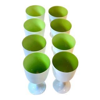 Carlo Moretti Inspired White and Green Murano Cased Glass Goblets - Set of 8 For Sale