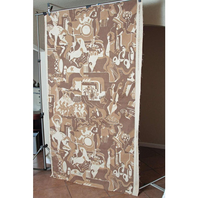 Tan Radio City Music Hall Ruth Reeves Jazz Age Fabric Remnant For Sale - Image 8 of 9