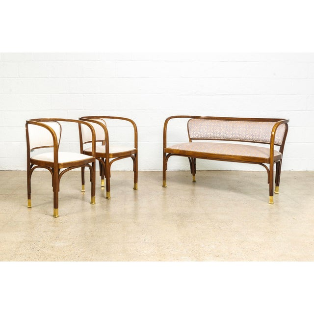 Antique Vienna Secessionist Gustav Siegel 715 for Kohn Loveseat Bench For Sale - Image 10 of 11