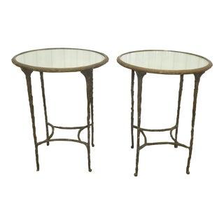 Vintage Faux Bois Metal Gueridon Side Tables - a Pair For Sale