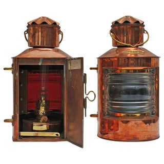 Nautical Copper Port and Starboard Navigation Lights - a Pair For Sale