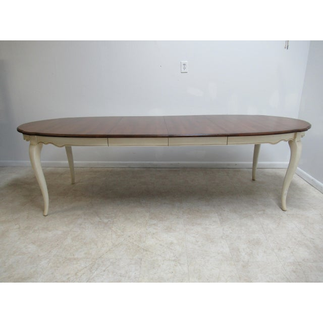 Lights French Country Ethan Allen Dining Room Banquet Table For Sale - Image 7 of 12