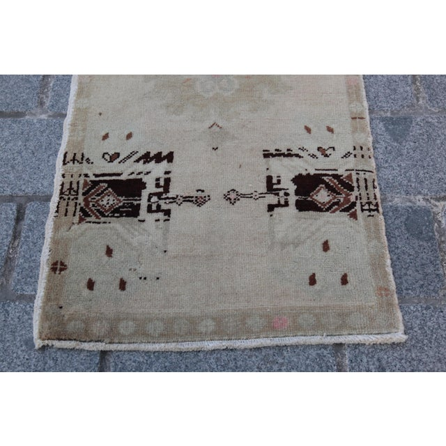 Vintage Turkish Muted Colour Carpet - 3' 5'' X 1' 8'' For Sale - Image 4 of 11