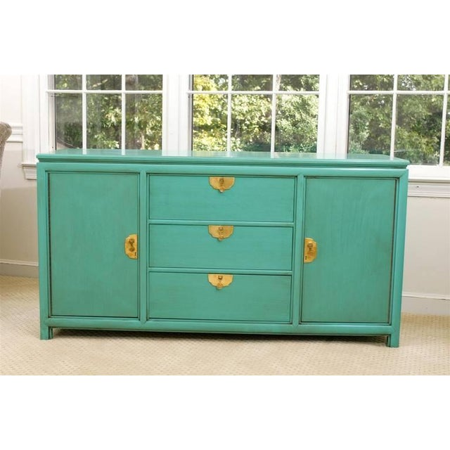 Fabulous Vintage Buffet by Thomasville in Turquoise Lacquer For Sale - Image 10 of 11