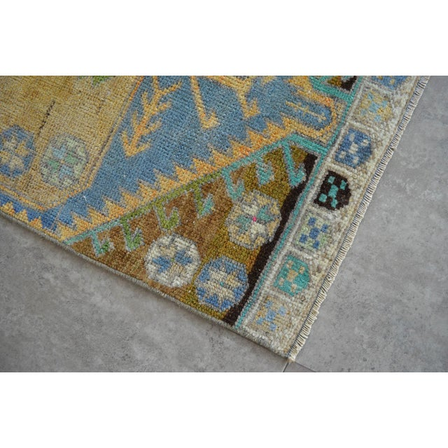 Hand Knotted Door Mat, Entryway Rug, Bath Mat, Kitchen Decor, Small Rug, Turkish Rug - 1′7″ × 3′4″ For Sale - Image 4 of 5