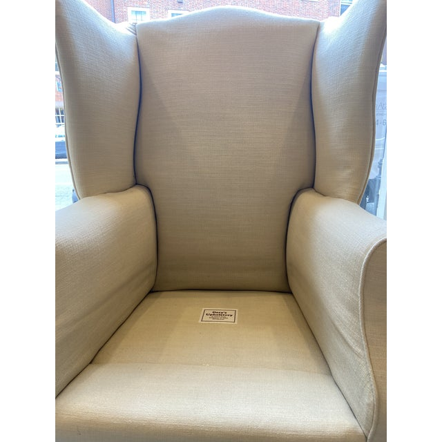 Cream 1920s Antique Mahogany, Belgian Linen and Down Cushion Wingback Chairs - a Pair For Sale - Image 8 of 12