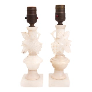 Early 20th Century Carved Alabaster Lamps - a Pair For Sale