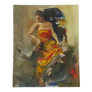 Contemporary Dancing Woman Oil Painting For Sale