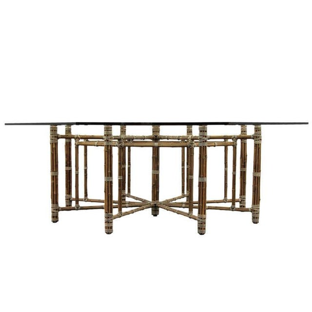 McGuire Bamoo and Laced Rawhide Octagonal Dining Table For Sale - Image 13 of 13