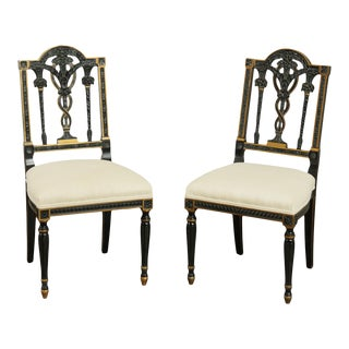 Bethlehem Furniture Vintage Black & Gold French Louis XVI Style Side Chairs - a Pair For Sale