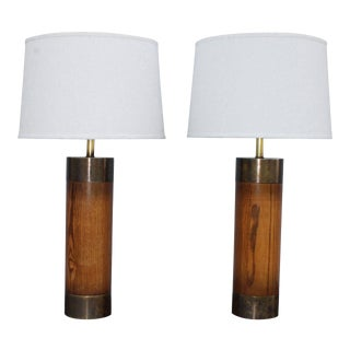 1960s Bronze and Oak Table Lamps by Westwood - A Pair For Sale