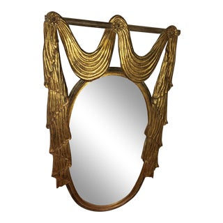 1960s Hollywood Regency Carved Wood Gilt Mirror