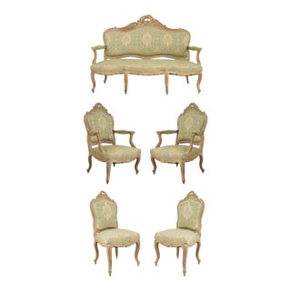 French Louis XV Green Damask Living Room Set - 5 Piece Set For Sale