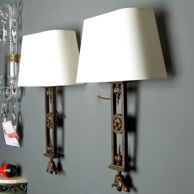 Traditional Tall Iron Sconces Made from Antique Balustrades - a Pair For Sale - Image 3 of 9