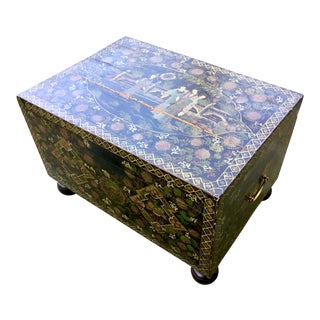 19th Century Japanese Hand Painted Lacquered Trunk For Sale