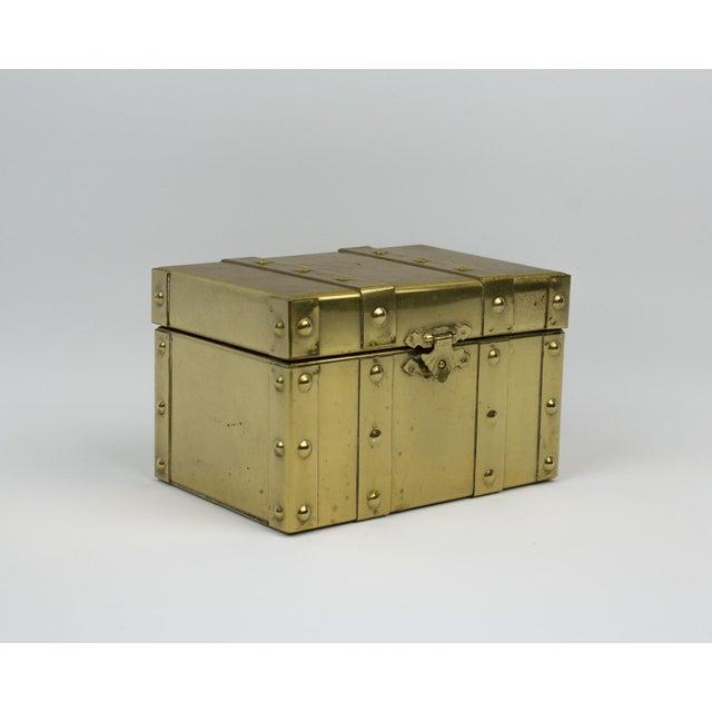 Art Deco Sarreid Style Miniature Tabletop Brass Trunk For Sale - Image 3 of 12