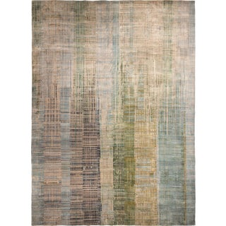 Modern Rugs & Kilim Graphic Hand Knotted Wool and Silk Rug - 10′ × 13′9″ For Sale