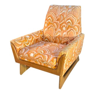 Mid-Century Modern Orange Botanical Lounge Chair by Adrian Pearsall For Sale