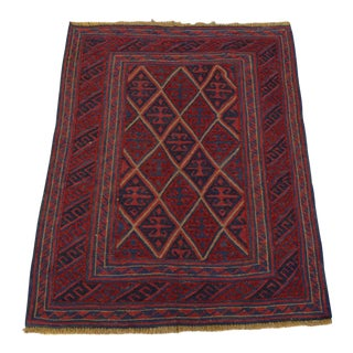 "Vintage Tribal Turkish Kilim Rug - 3'5"" x 4'3"""