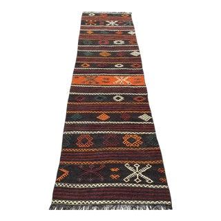 Vintage Turkish Striped Kilim Runner Rug For Sale