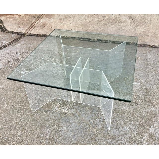 Mid-Century Modern Coffee Table With Lucite Geometric Base and Square Glass Top For Sale - Image 4 of 8