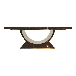 20th Century Italian High Gloss Walnut and Chrome Extendable Dining Table For Sale