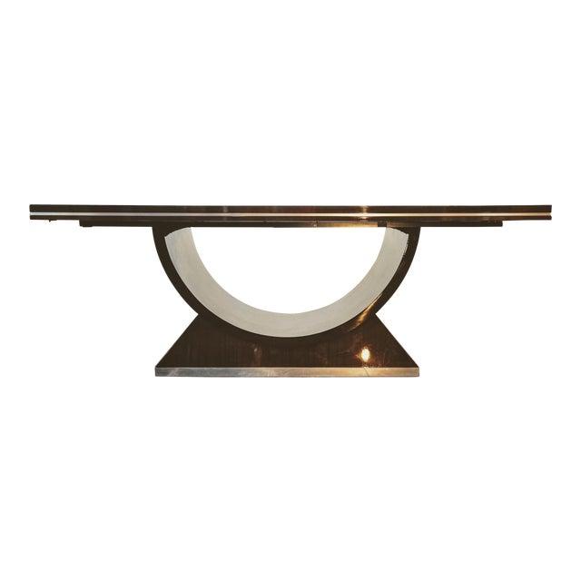 20th Century Italian High Gloss Walnut and Chrome Extendable Dining Table For Sale