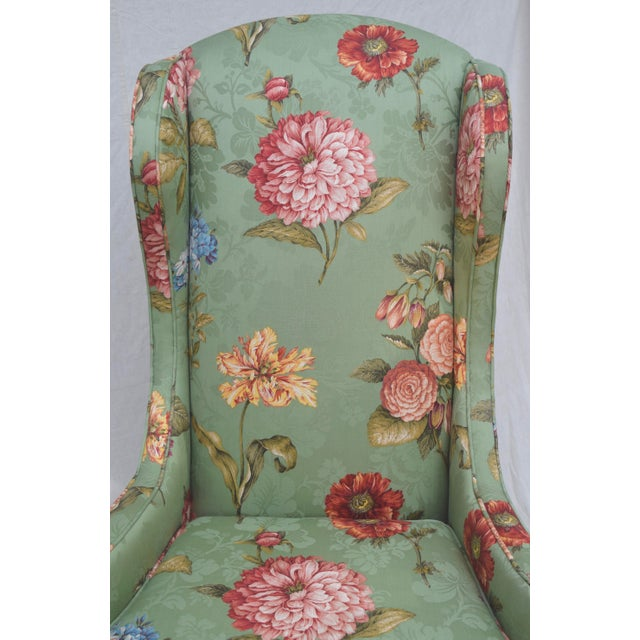 Textile Baker Wing Back Chair For Sale - Image 7 of 10
