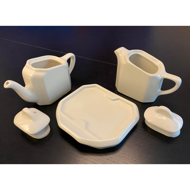 Tea For Two Twin Tea Set With Matching Trivet by Hall Pottery - 5 Piece Set For Sale In New York - Image 6 of 12