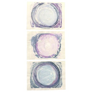 "La Luna Series ""Triptych"" Hand Made Monotypes Ink on Paper Prints - Set of 3 For Sale"