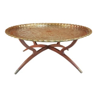 Mid-Century Modern Round Brass Top Coffee Table