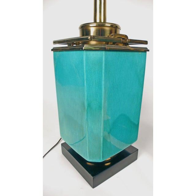 Jade Blue Ceramic Stiffel Lamps For Sale In Dallas - Image 6 of 7