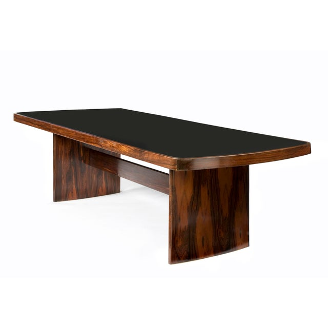 Black Soft-Edged Rectangular Dining Table in Rosewood With Black Underpainted Glass Top and Curved Legs For Sale - Image 8 of 9