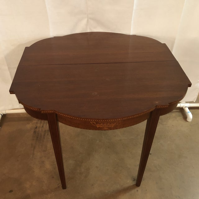 Brown 1900s Federal Inlaid Mahogany Game Table For Sale - Image 8 of 13