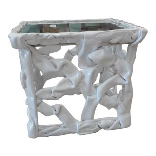 1970s Abstract White Taffy Resin Cube Table For Sale