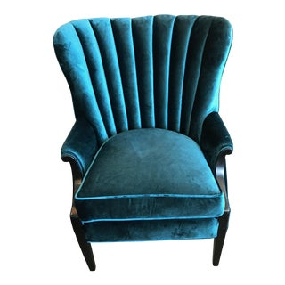 Peacock Teal Vertical Tufted Wingback Chair