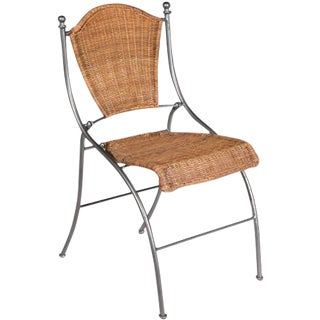 Italian Rattan Outdoor Folding Accent Chair For Sale