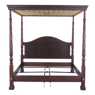 1990s Henkel Harris King Size Mahogany Canopy Poster Bed For Sale