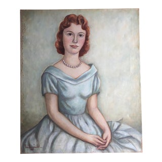 1940s Portrait of Young Girl in White Dress For Sale