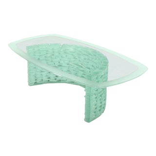 Mid-Century Modern Sculptural Glass C Shape Base Coffee Table For Sale