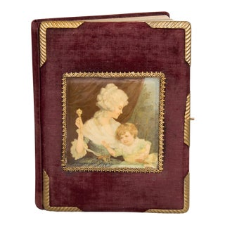 Circa 1900 Velvet and Brass Photo Album With Celluloid Picture For Sale