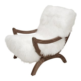 Curly Jj Chair Bright White Walnut For Sale