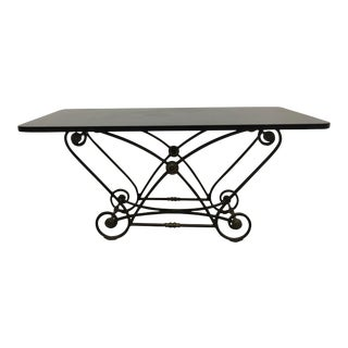 1920s Iron and Brass Medallion French Bakers Table For Sale