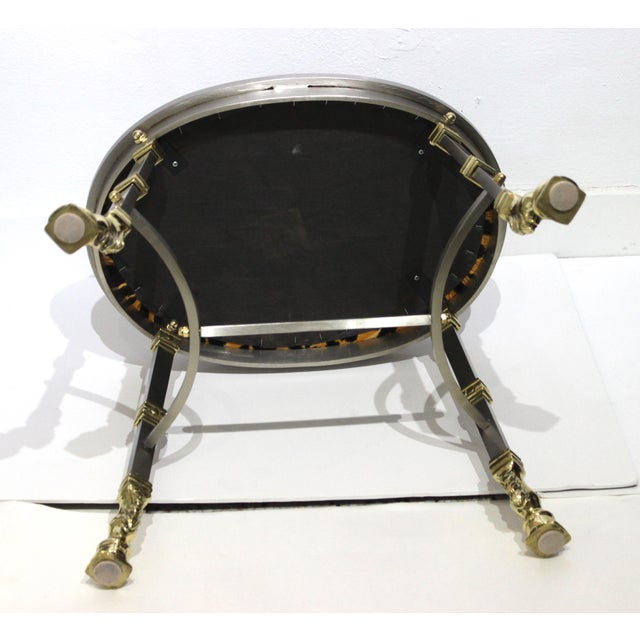 Vintage Maison Jansen Style Oval Stool Polished Steel & Brass Leopard Upholstery For Sale - Image 9 of 13
